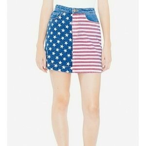 American Apparel Skirts - NWT aa USA flag denim high waist skirt small